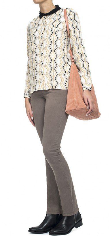 Slim straight in taupe sateen denim