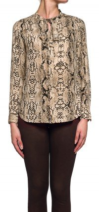 Longsleeve tie neck blouse in victorian python print